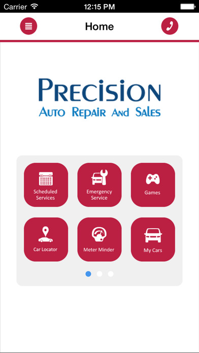 precision auto home screen