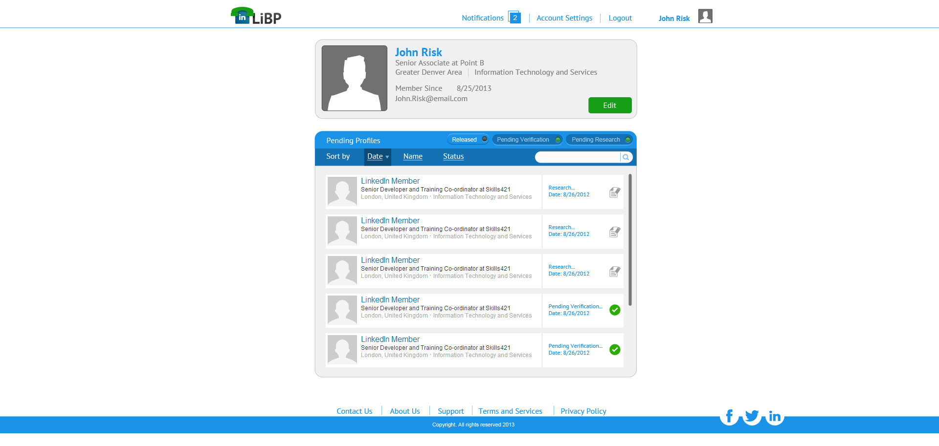 Linked by phone Employer view screen 1