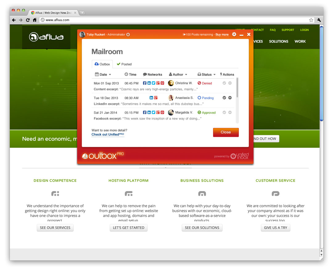 outbox pro UI screenshot 6