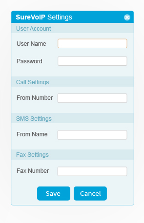 sure voip setting screen